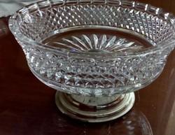 Kristály üveg talpas kínáló, asztalközép
