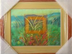 """Illényi Tamara """"Virágos rét"""" c. különleges keretezett selyemfestmény gyűjteményből eladó!"""