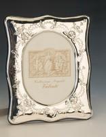 Ezüst nagy méretű képkeret florális mintával