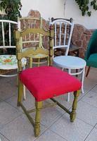 Provence vintage szék piros kárpittal
