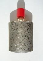 Ezüst cizellált parfümös üveg tok