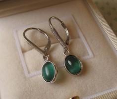 Zöld köves ezüst fülbevaló - új ékszer - cirkónia díszítéssel