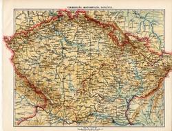 Csehország, Morvaország, Szilézia térkép 1913, eredeti, teljes atlasz, Kogutowicz Manó, régi