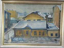 Téli utcán régi olajfestmény TM.