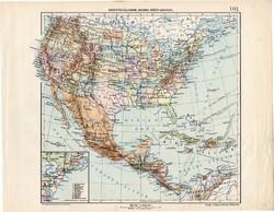 Egyesült Államok, Mexikó, Közép - Amerika térkép 1913, eredeti, Teljes atlasz, Kogutowicz Manó, régi