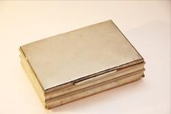 Névjegy - kártyatartó doboz, fa betéttel ezüstözött Art deco stílus