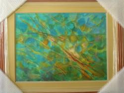 """Illényi Tamara """"Tenger I."""" c. különleges selyemakvarell gyűjteményből ingyen postával"""