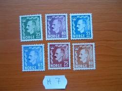 NORVÉGIA 25-80 ŐRE 1955 - King Haakon VII  6 DB VEGYES  H7