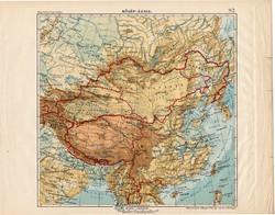 Közép - Ázsia térkép 1913, eredeti, teljes atlasz, Kogutowicz Manó, régi, hegy- és vízrajz, Tibet