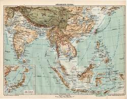 Délkelet - Ázsia térkép 1913, eredeti, teljes atlasz, Kogutowicz Manó, régi, hegy- és vízrajz, kelet