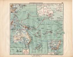 Ausztrália és Óceánia térkép 1913, eredeti, atlasz, Kogutowicz Manó, régi, Nagy - Magyarország