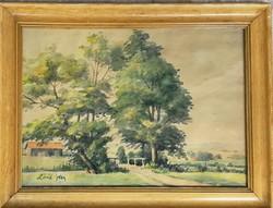 Zórád Géza: Ház a fák között akvarell