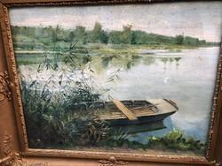 Boldizsár, olaj, jelzéssel csónak folyó parton