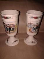 Antik francia Sarreguemines porcelánok, fajansz pohár kupa pár