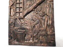 Tudós munka közben - bronzírozott súlyos falikép - fali dombormű