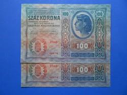 AUNC sorszámkövető 100 korona 1912 felülbélyegzés DÖ
