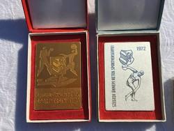 2 darab emlékplakett + doboz - Szegedi Ünnepi Hetek Sportversenye plakett arany és ezüst szín