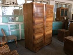 Régi vintage art deco polcos szekrény kétajtós ruhásszekrény