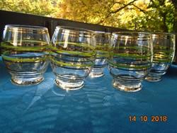 """5 db Arany és zöld csíkos """"hordó"""" formájú pohár-9 cm,-körméret 23 cm"""