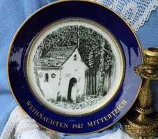 Weihnachten 1987 Mitterteich porcelán tányér, karácsonyi gyűjtői