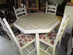 Rusztik asztal + 4 db szék felújított