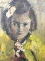 Glück Felix:Kislány portréja ??Mariának ajánlással 1946.