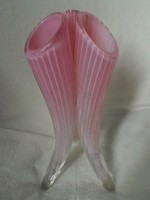 Rózsaszín art deco üveg váza  22,5 cm