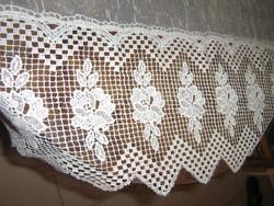 Csodálatos vintage fehér rózsa csipkés luxus függöny 378 x 235 cm