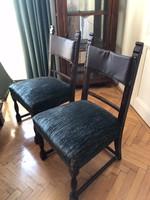 Antik szék bársony és bőr kárpittal, 4 db