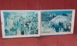 42x30-as képcsarnokos keretben, két nyonat, farostra