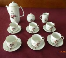 Hollóházi jelzett porcelán kávés készlet, hiánytalan, hibátlan