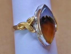 Egyedi szép régi arany-ezüst gyűrű achát kővel