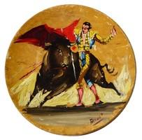 Szignózott fatányér festmény, torreádor