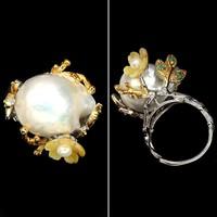 Unikat- Barock 22x16mm feher Barok Gyöngy  Smaragd faragot gyöngyhaz 925 Sterling ezüst Gyűrű