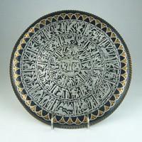 0T515 Régi egyiptomi vörösréz dísz tányér 30 cm