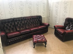 Chesterfield Oxblood 4+1 kanapé szett ritka darab!