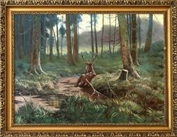Erdő mélyén című olaj vászon festmény, INGYEN POSTA, VISSZAVÁSÁRLÁSI GRANCIA