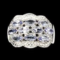 Gyönyörű  TOP  kék lilas Tanzanite 925 ezüst gyűrű Naveta csiszolas merete 58