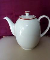 Nagyméretű porcelán teás kanna, kiöntő, hófehér piros szegélyű