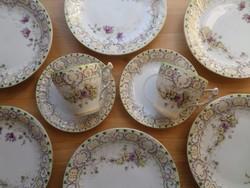 Antik szecessziós Friedrich Kaestner - Oberhohndorf porcelán kistányérok és csésze