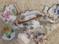 7 db-os virágos porcelán