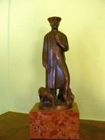 """OLCSAI KISS ZOLTÁN (1895-1981) """"JUHÁSZ"""" (23 cm) BRONZ SZOBOR KISPLASZTIKA"""