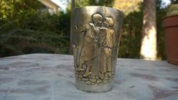Jelenetes ezüstözött réz pohár antik, jelz.