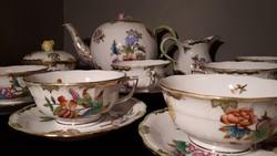 Gyönyörű, Herendi Viktória VBO teás készlet 6 főre a legszebb csészékkel!
