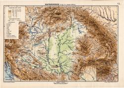 Magyarország hegy- vízrajzi térkép 1907, eredeti, atlasz, Kogutowicz Manó, régi, magyar nyelvű, régi