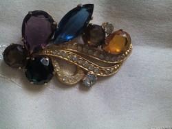 Szép régi  aranyozott bross színes kövekkel