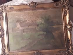 Sallay Steinwill J. olajképe vászonra falusi életkép