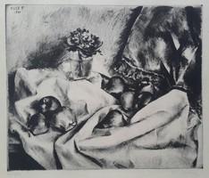 Kiss Terézia 1928-, Ibolyák csendélet 1961-ben készült karc,dúc:29X24,5 lap:42,5X30 cm, keretezetlen
