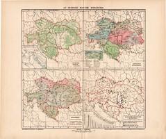 Osztrák - Magyar Monarchia erdőségek, nyelvek, népsűrűség, helységek eloszlása térkép (ek) 1902