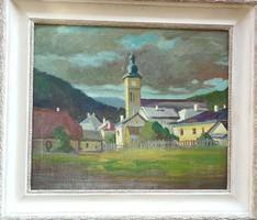 Nagybánya templom olaj festmény